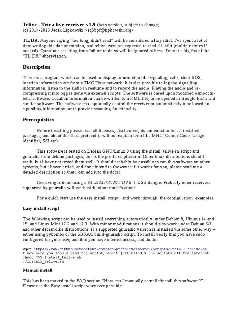 telive_doc pdf | Linux | Operating System