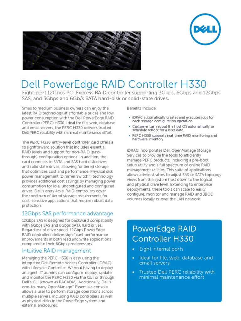 Dell PowerEdge RAID Controller H330 | Solid State Drive | Hard Disk