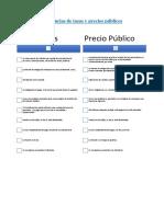 Diferencias de Tasas y Precios Públicos