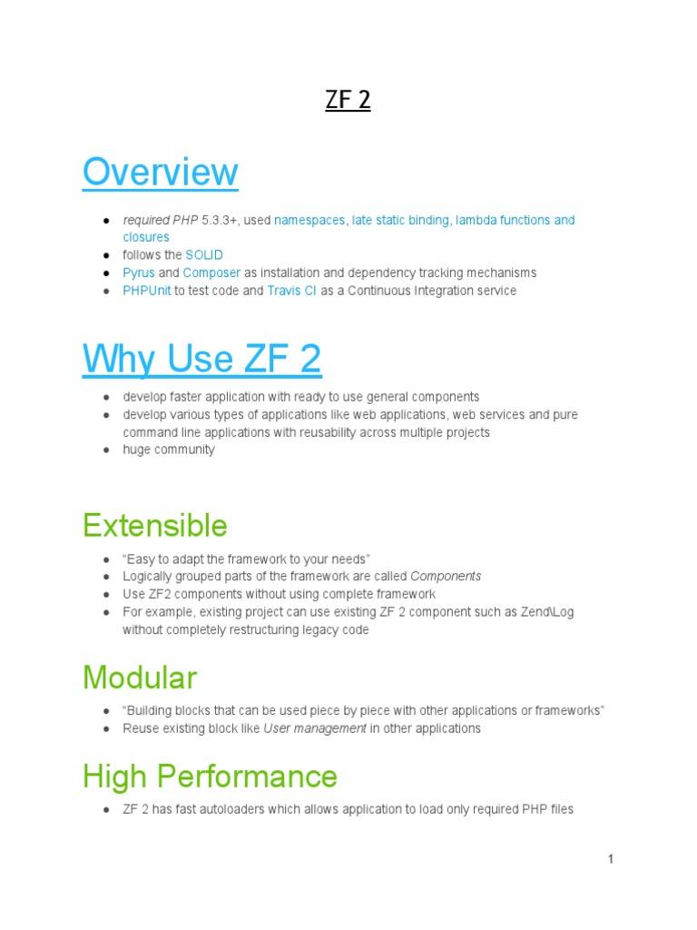 Zend Framework 2 Notes   System Software   Computer Programming