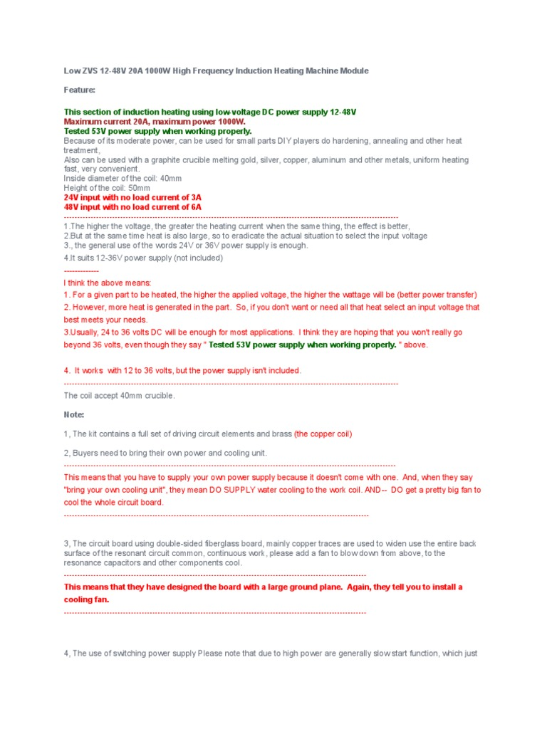 Banggood 1000 Watt ZVS 12 to 48 Volt Induction Heater Instructions