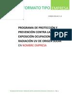 Programa de Protección y Prevención Contra La Exposición Ocupacional a Radiación UV de Origen Solar