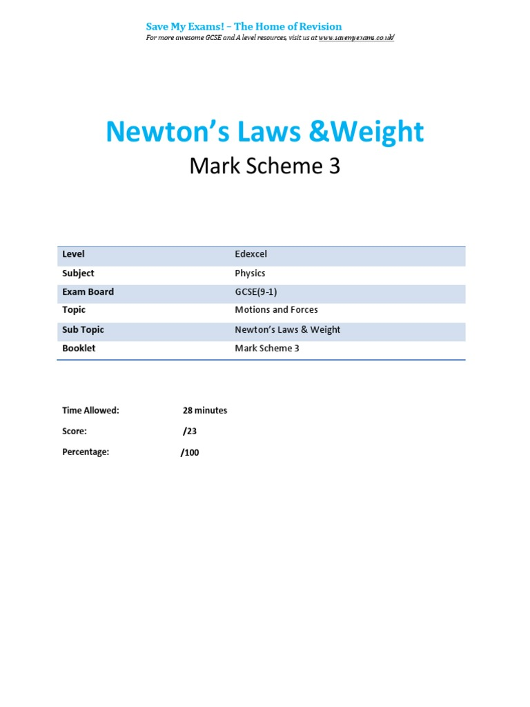 3 3 -Newtons Laws Weight Ms-gsce Edexcel Physics | Gce