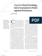 The Use of a Clinical Psychology Approach to Predict Management Performance