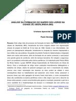 Análise Da Formação Do Bairro São Jorge Na Cidade de Uberlândia
