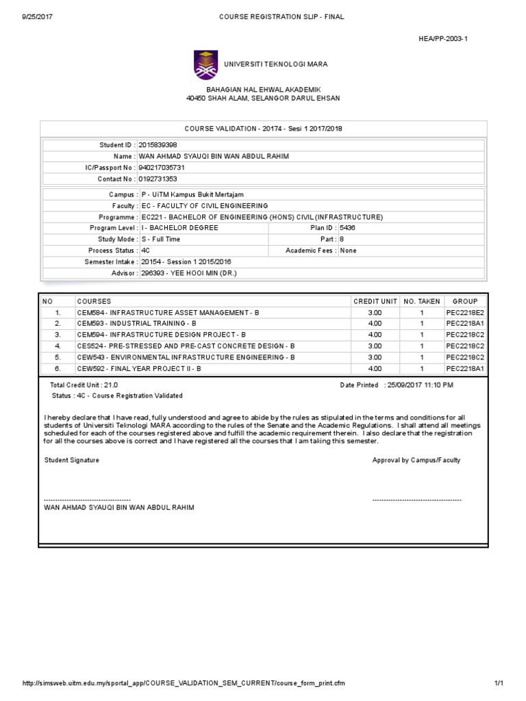 Course Registration Slip Final Academia Students