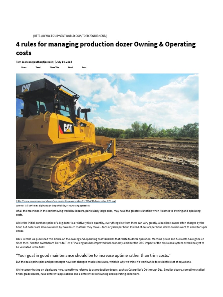 4 Rules for Managing Production Dozer Owning & Operating