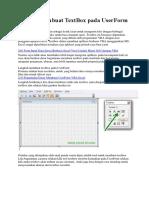 Belajar Membuat TextBox Pada UserForm