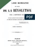 Crétineau-Joly Jacques - L'Église Romaine en Face de La Révolution - Tome 1