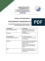 Manual de Procedimientos Colegio Juan Montalvo