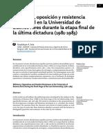 Militancia, oposición y resistencia estudiantil en la Universidad de Buenos Aires durante la etapa final de la última dictadura (1981-1983) - Guadalupe A. Seia