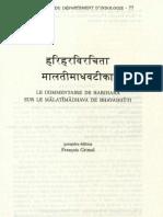 Le commentaire de Harihara sur le Mālātīmādhava de Bhāvabuti