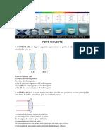Lentes esféricas  e estudo analítico, lentes cilindricas