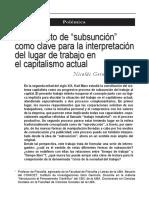 Pagura, El Concepto de Subsunción Como Clave para la interpretación del lugar del trabajo en el capitalismo actual