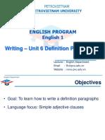Writing - Unit 6