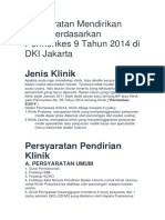 Persyaratan Mendirikan Klinik Berdasarkan Permenkes 9 Tahun 2014 Di DKI Jakarta