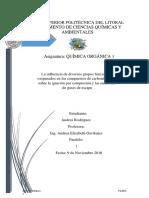 La influencia de diversos grupos funcionales oxigenados en los compuestos de carbonilo y éter