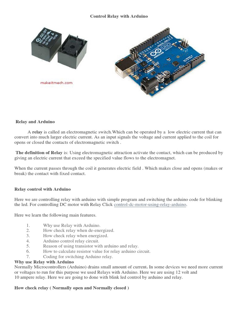 Control Relay With Arduino Switch Electronic Circuit Using