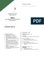 2011 Chemistry - Cheltenham Girls With Solutions