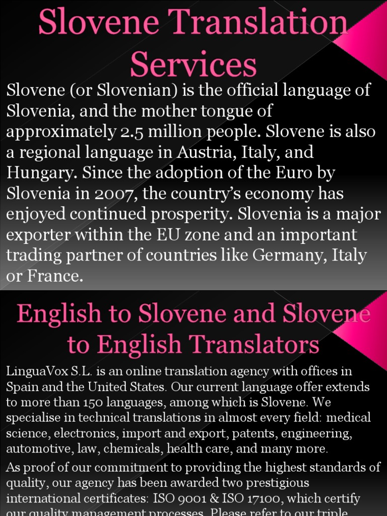 Slovene Translation Services | Slovenia | Iso 9000