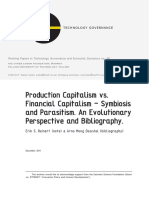 Production capitalism vs. financial capitalism - symbiosis and parasitism. An evolutionary perspective and bibliography.