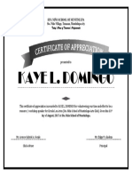 Certificate f Appreciation