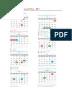 Calendario de Feriados de Bolivia