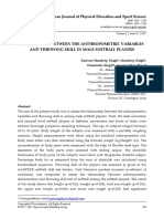 RELATIONSHIP BETWEEN THE ANTHROPOMETRIC VARIABLES  AND THROWING SKILL IN MALE SOFTBALL PLAYERS