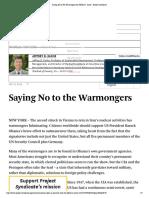 Saying No to the Warmongers - Jeffrey Sachs