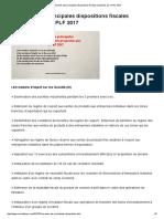 Résumés Des Principales Dispositions Fiscales Proposées Par Le PLF 2017