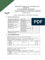 Operaciones y Procesos Unitarios Silabo