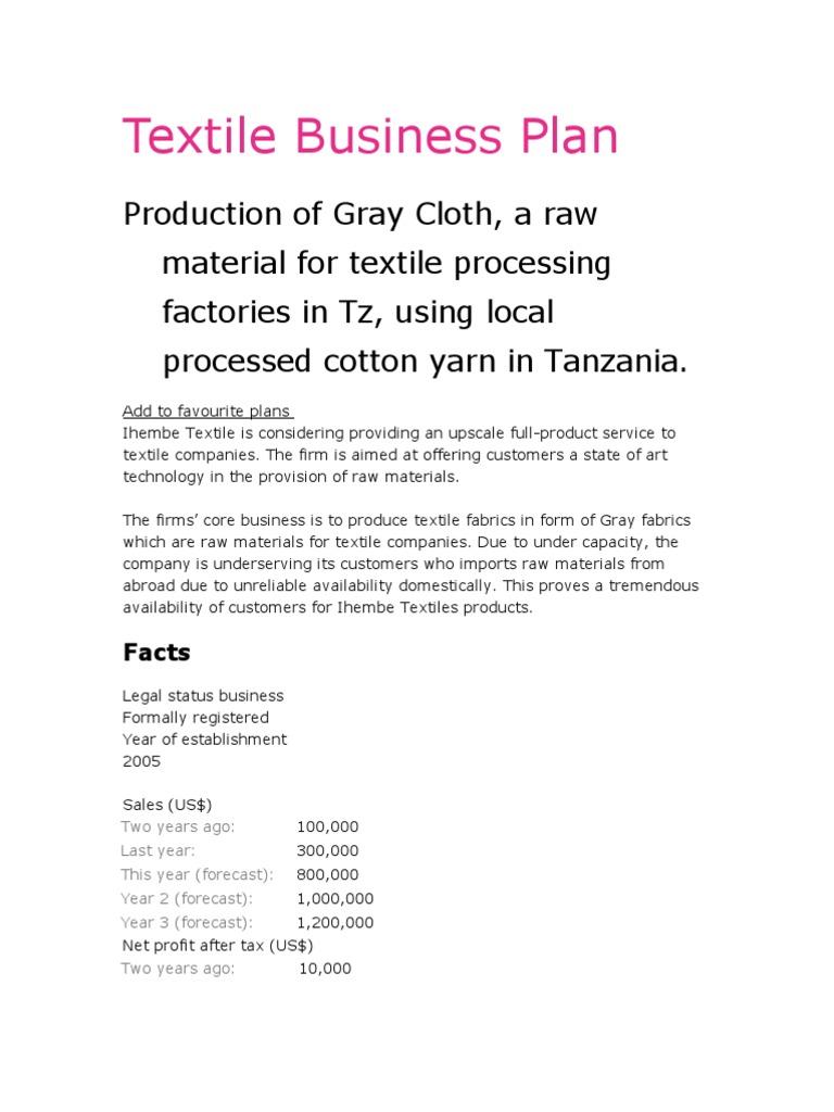 Textile Business Plan Textiles Tanzania