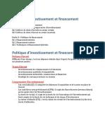 Politique d'Investissement Et Financement