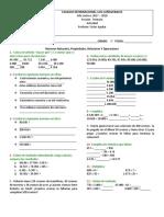 Números y operaciones Taller 3°