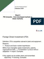 Week 9 Investments Inwards FDI