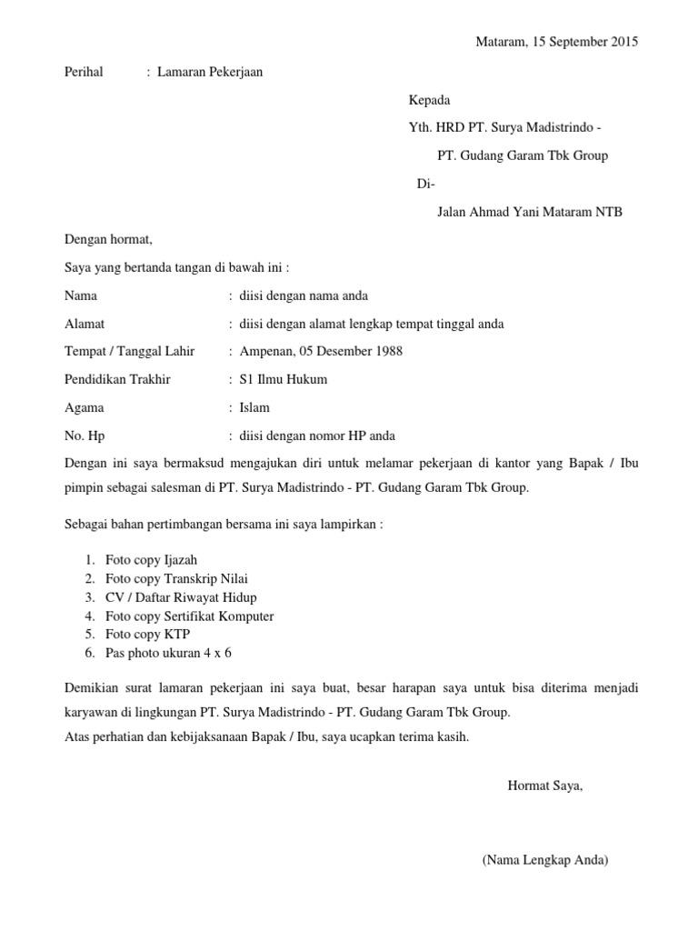 Contoh Surat Lamaran Kerja Di Gudang Garam Kediri