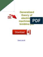 Generalized Theory of Electrical Machines p s Bimbhra PDF