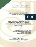 2006 Fukazawa Proyecto de Inversion Para La Implementacion de Un Centro Educativo Privado en El Distrito de Los Olivos