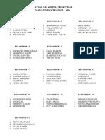 Daftar Kelompok Presentasi Magic