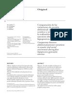 Comparaciones de Las Variaciones de Presion Abdominal en Medio Acuatico y Aereo en Tecnicas Hipopresivas