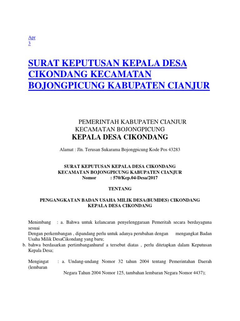 Contoh Sk Bumdes Editeun
