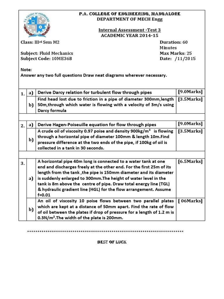 Energy Question Paper Ist Internal (2) | Fluid Mechanics