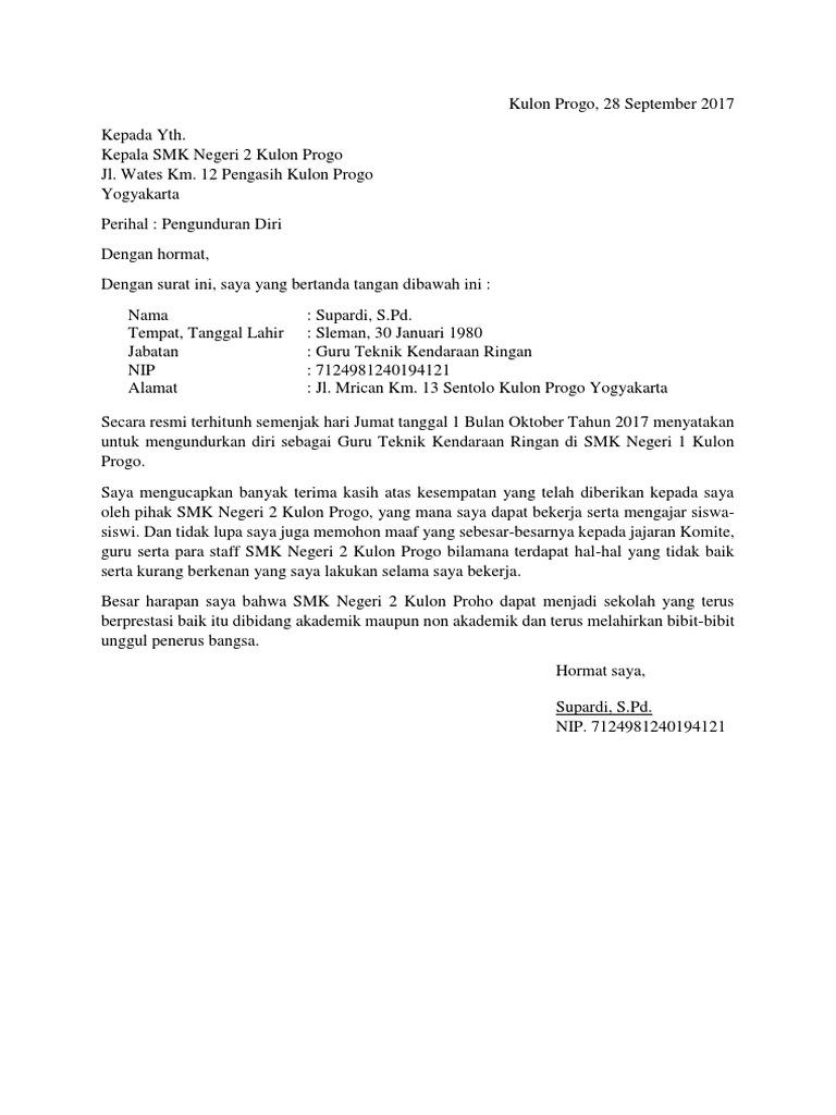 Contoh Surat Pengunduran Diri Dari Sekolahdocx