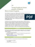 2017 YSEALI Micro Grant Program Announcement English