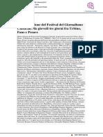 Quinta edizione del Festival del Giornalismo Culturale - Pu24.it, 10 ottobre 2017