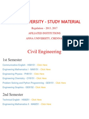 Civil Department - ANNA UNIVERSITY Important Question and