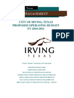 Proposed Operating Budget for city of Irving
