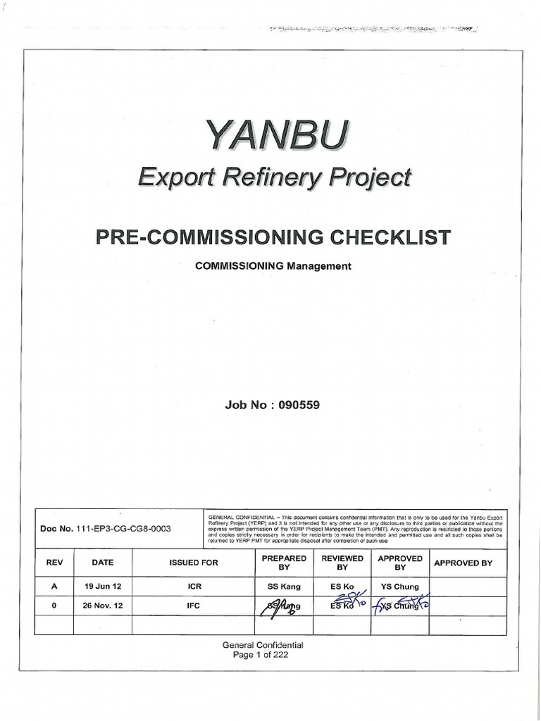 Pre Commissioning Check List Yasref Refinery | Pump | Specification
