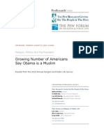 Growing Number of Americans Say Obama is a Muslim
