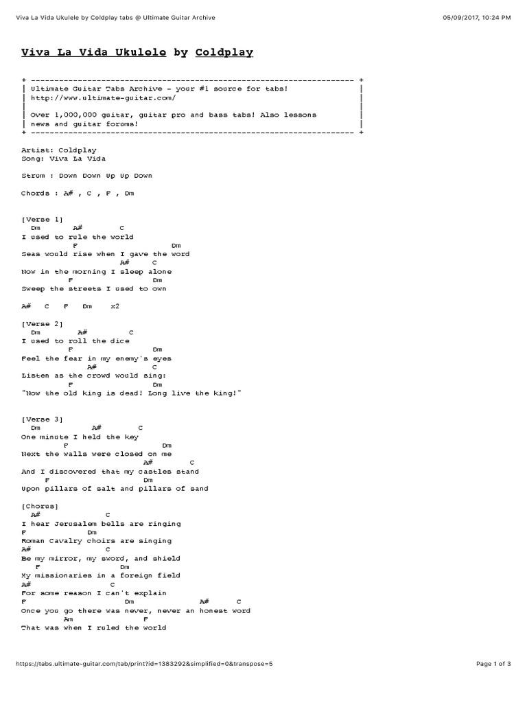 Ukulele Coldplay Viva La Vida Song Structure Vocal Music